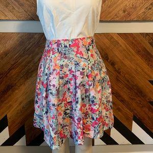 Printed Floral Pleated J Crew Skirt
